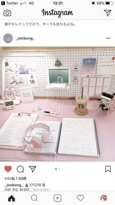 Need the metal board Study Space, Study Desk, Desk Space, Study Rooms, Kawaii Bedroom, Desk Inspiration, Study Organization, Girl Room, My Room