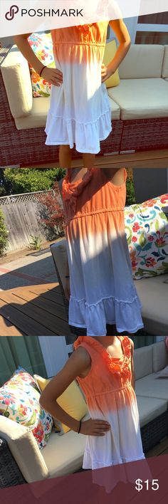 Orange and white cute ombré summer dress Orange and white dress with designed chest rim. Designed bottom rim. Very stylish for the hot summer days at the beach! Hype Dresses Casual