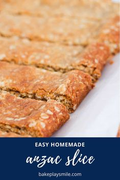 Our classic ANZAC Slice takes just 10 minutes to prepare and is perfect for lunchbox snacks! Chewy, sweet and oh-so-delicious (just like your favourite ANZAC biscuits! Healthy Slice, Australian Food, Australian Recipes, Anzac Biscuits, Lunch Box Recipes, International Recipes, Baking Recipes, Healthy Recipes, Delicious Desserts