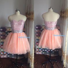 Short Sweetheart Light Peach Ball Gown Sequin Prom by HelloDress, $109.00
