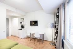 Furnished apartments, hostels and aparthotels in Scandinavia - Forenom Furnished Apartment, Stay The Night, Kitchenette, Helsinki, Hostel, Room, Furniture, Home Decor, Bedroom