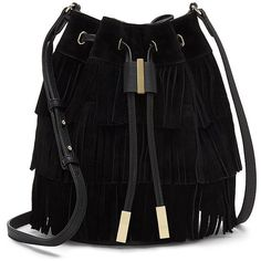 Vince Camuto Joni Leather Crossbody Bucket Bag ($228) ❤ liked on Polyvore featuring bags, handbags, shoulder bags, black, leather purse, crossbody, fringe crossbody, leather shoulder bag and black crossbody