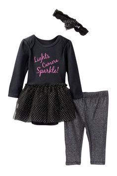 Lights, Camera, Sparkle! Skirted Bodysuit, Pant & Headband Set (Baby Girls)
