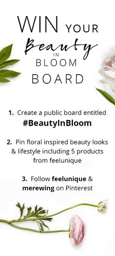 Get your floral on by entering our fabulous #BeautyInBloom competition! The top 5 boards will win the 5 products they've pinned- we've gone for our beautiful new #FeeluniqueXmoomooi collection. Good luck x