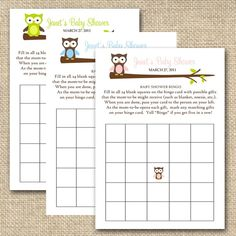 Owl Baby Shower Bingo is a sweet twist on the classic crowd pleaser. Guests simply fill out what gifts they think the new mama will receive and cross Baby Bingo, Baby Shower Bingo, Baby Shower Printables, Shower Party, Baby Shower Parties, Shower Gifts, Shower Bebe, Baby Owls, Everything Baby