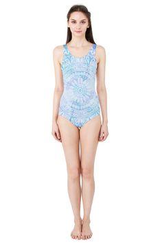BLUE MANDALA Women's One Piece Swimsuit #FASHION #CLOTHES #SWIMWEAR #SWINSUIT #PINKCESS #NIKAMARTINEZ #BLUE #MANDALA #WHITE #OCEAN #BEACH #DESIGNER #PATTERN #COOL #TREND