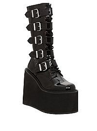 Demonia By Pleaser Swing Black Patent Buckle Strap Boots ~ Mmmm.much love for huge platforms, buckles, metal, and all suchlike such-as. Lace Up Wedge Boots, Black Lace Up Boots, Black Platform Boots, Black Ankle Booties, Platform Wedge, Wedge Shoes, Dr Shoes, Cute Shoes, Me Too Shoes