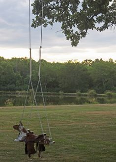 DIY Outdoor Horse And Saddle Swing for my little boy! Saddle Swing, Horse Swing, Outdoor Play, Outdoor Spaces, Outdoor Living, Backyard Swings, Outdoor Swings, Backyard Toys, Backyard Playground