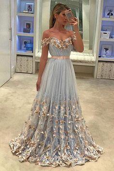 Unique tulle light blue long prom dress, tulle evening dress