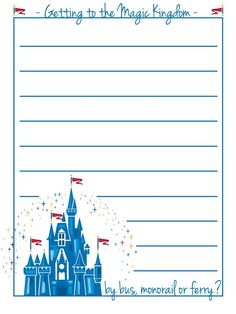 """Getting to the Magic Kingdom - Project Life Disney Journal Card - Scrapbooking. ~~~~~~~~~ Size: 3x4"""" @ 300 dpi. This card is **Personal use only - NOT for sale/resale** Logos/clipart belong to Disney. Font is Jenna Sue http://www.dafont.com/jenna-sue.font"""