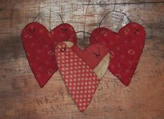 Red & White Valentine Heart Ornaments with Polkadots & Stripes! Handmade by Tana Taylor of Prairie Primitives Folk Art. Made in the U.S.A.!!!