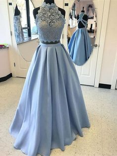 Custom Made A Line High Neck 2 Pieces Blue Lace Prom Dresses, 2 Pieces Lace Formal Dress, Graduation Dress #prom #promdress #prom2018 #prom2k18 #bluepromdress #lacepromdress #2piecespromdress #2piecesformaldress #2piecesdress #dressesforprom #partydress