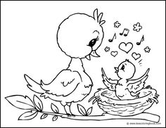 Chick and Mother Bird - Coloring Page by xtempore, via Flickr