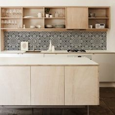 blond wood + vinyl tile wallpaper