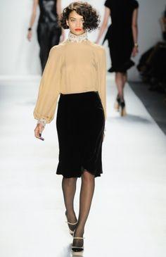 Ruffian Cameo Blouse in Nude Silk Georgette The Trumpet Skirt in Black Silk Velvet