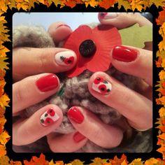 Remembrance day nails poppy nail art