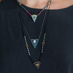 Zoe Kompitsi | Hematite Beaded Triangle Necklace