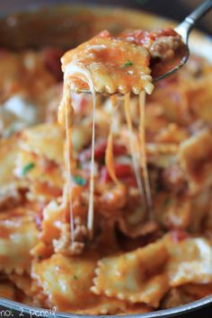 Skillet Lasagna - this is an easy one-pan meal with all the yummy flavor of homemade lasagna.  You'll be able to have this on the table in 30 minutes (no, really!), but it's good enough to serve to company.