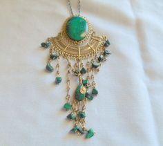 Vintage large gemstone Peruvian pendent Necklace