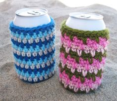 Free Crochet Pattern: Beer Cozies! | Gleeful Things~~ check out Red, White 'n Blue Cozies bottom of page...
