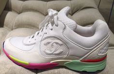 CHANEL 2015 CC LOGO WHITE SUEDE SNEAKERS TENNIS SHOES TRAINERS RAINBOW MULTI COLORS Chanel Sneakers, Suede Sneakers, Sneakers Nike, Chanel 2015, Purple Grey, Trainers, Shoe Bag, Bags, Shoes