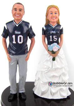 Football Themed Wedding Cake Topper Football wedding cake topper with custom jerseys New England Patriots