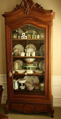 city French armoire with china