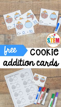 These cookie jar cards are the perfect way to illustrate how easy it is to work with 10s. Simply add the numbers together, write the number sentence, and follow the pattern! A fun math activity for math centers or math review with kindergarten and first grade kids! #mathfreebies #mathcenters #theSTEMLaboratory