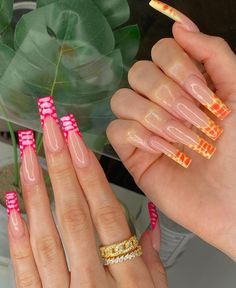 Acrylic Nails Coffin Pink, Long Square Acrylic Nails, Summer Acrylic Nails, Summer Nails, Pastel Nails, Yellow Nails, Coffin Nails, Sky Nails, Fire Nails