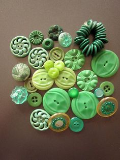 Vintage Green Plastic Buttons