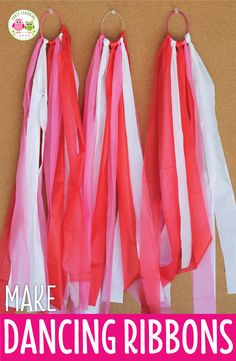 Here is an easy craft for kids. Make dancing ribbons on a budget with a few simple supplies. This is a cute party activity and the ribbons can be used for dancing, math and literacy activities. Perfect for kids in preschool, pre-k, and kindergarten. Valentine's Day party activity, birthday party activities, Christmas party activities. Use the dancing ribbons for counting syllables in words, making shapes and letters, and counting activities.