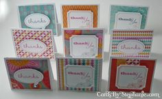 3 x 3 mini thank you cards By Stephanie Chumbley using CTMH Dream Pop paper.... see close-ups in post