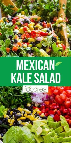 """Oh, this Mexican kale salad is sooo good!  Raw chopped kale, black beans, corn and tomatoes are combined with a bit of jalapenos, red onion and cilantro and are """"swimming"""" in avocado dressing. Serve alongside grilled chicken and your dinner is done. Healthy Potluck, Healthy Family Meals, Potluck Recipes, Healthy Side Dishes, Summer Recipes, Tasty Meals, Cooking Recipes, Healthy Lunches, Healthy Salads"""
