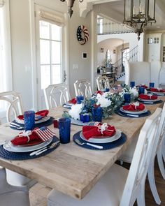 Create a red, white, and blue patriotic tablescape is perfect inspirtation for Fourth of July, Memorial Day, or Flag Day festivities. Fourth Of July Decor, 4th Of July Celebration, 4th Of July Decorations, Room Decorations, July 4th, Dinner Party Table, Youre Invited, Independence Day, Tablescapes