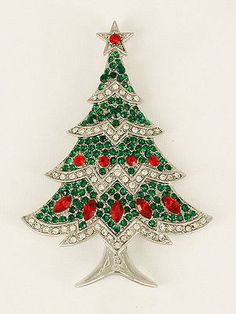 Clesr, green and red crystal Christmas tree pin