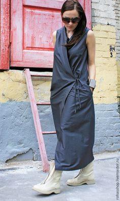 Длинное летнее платье модное платье в пол стильное серое платье свободное платье платье на запах платье на лето жилет сарафан длинный сарафан платье с…
