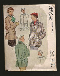 Vintage 1940s McCall CLASSIC Mid Century Short Coat Jacket and Scarf  Mccalls 7774 1949 - 1950 Back Pleat Pockets Back Half Belt Car Coat