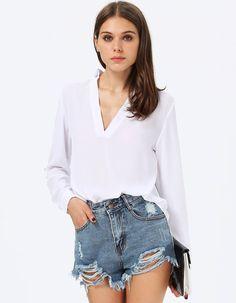 Blusa suelta cuello pico manga larga-blanco 12.60