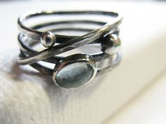 Sterling Silver Wide Band, Oxidized Organic Wrap Ring, Aquamarine Ring on Etsy, $77.21 CAD