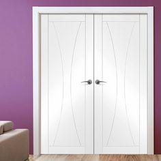 Simpli Double Door Set, Verona Flush Door - Primed.  #whitedoubledoors #internaldouledoorsets #soubledoors