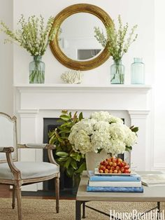 Get mirror to go above mantel - find at thrift store and paint