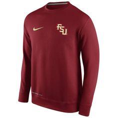 Mens Florida State Seminoles Nike Garnet KO Chain Fleece Crew Pullover Sweatshirt