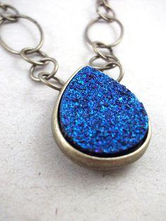 Azure Galaxy Rock Teardrop Necklace by arianaalysedesigns on Etsy, $28.00