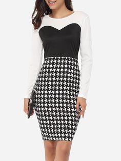 #AdoreWe #FashionMia Bodycon Dresses - FashionMia Round Neck Dacron Color Block Houndstooth Bodycon-dress - AdoreWe.com
