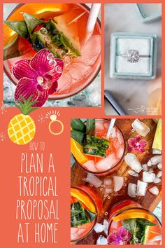 Step by step guide in planning a tropical destination proposal right in your own home! From the signature cocktail to the menu, music, table decor and of course, the DIAMOND! #TropicalProposal #sponsored @cleanorigin Centerpieces, Table Decorations, Color Studies, Signature Cocktail, Best Appetizers, Valentine's Day Diy, Fabulous Foods, What's Cooking, What To Cook