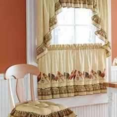 Kitchen Curtains And Valances, No Sew Curtains, Hanging Curtains, Valance Curtains, Curtain Patterns, Curtain Designs, Cortinas Country, Classic Curtains, Bedroom Red
