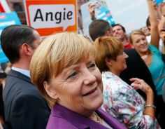 Merkel on the campaign trail, looking put-together.