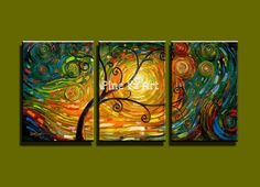 3 piece modern canvas wall art  triptych Muti panel Abstract tree of life oil painting canvas for living room bedroom decoration