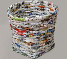 Como fazer artesanato com jornal - http://www.comofazer.org/faca-voce-mesmo/como-fazer-artesanato-com-jornal/