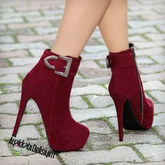 Mızra Süet Bordo Platform Topuklu Bot - Irate Tutorial and Ideas Heeled Boots, Bootie Boots, Shoe Boots, Ankle Boots, Red Booties, High Heel Pumps, Pumps Heels, Red Heels, Buy Shoes